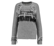 Fringed Knitted Cashmere Sweater Grau