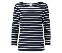 Madeline Breton Striped Cotton Top Navy