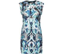 Deinia Quilted Printed Crepe Mini Dress Blau