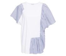 Gerafftes T-shirt aus Baumwollpopeline und Jersey mit Streifen