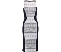 Stretch Knit-paneled Jacquard Dress Weiß