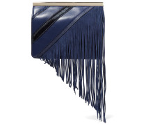 Soiree Fringed Paneled Calf Hair, Smooth And Textured-leather Clutch Rauchblau