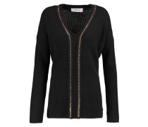 Chain-embellished Ribbed Wool And Cashmere-blend Sweater Schwarz