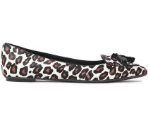 Patent Leather-trimmed Leopard-print Point-toe Flats