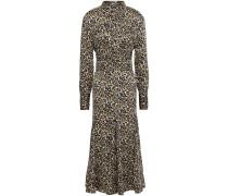 Lenora Leopard-print Washed-crepe Midi Dress