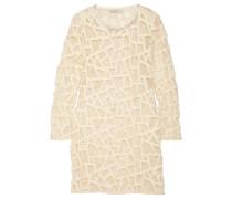 Olinie Embroidered Mesh Mini Dress Ecru