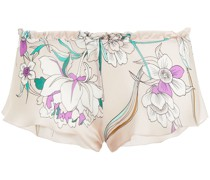 Ruffled Printed Silk-blend Voile Mid-rise Briefs