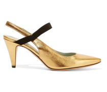 Valery Metallic Leather Slingback Pumps Gold
