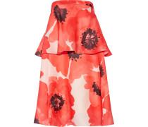 Tiered Floral-print Silk-gazar Dress Papaya