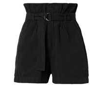 Shorts aus Baumwoll-canvas mit Gürtel