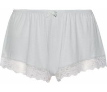 Lace-trimmed ribbed-knit pajama shorts