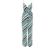 Wrap-effect Striped Crepe Jumpsuit