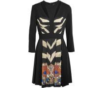 Pleated Printed Ponte Mini Dress Schwarz