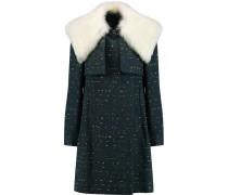 Shearling-trimmed Slub Wool-blend Coat Smaragdgrün