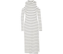 Envelope cold-shoulder striped stretch-modal midi dress
