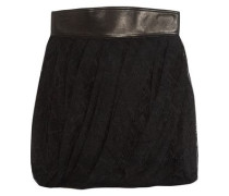 Leather-trimmed pleated lace mini skirt