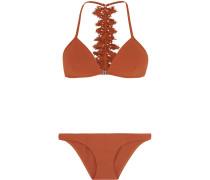 Alchemy Broderie Anglaise-trimmed Triangle Bikini Kupfer