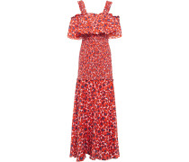 Woman Cold-shoulder Printed Cotton-gauze Maxi Dress Red