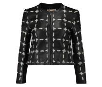 Appliquéd leather jacket