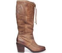 Camilla Distressed Leather Knee Boots Braun
