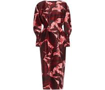 Shirred Printed Shantung Midi Dress