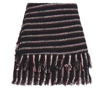 Wrap-effect Fringe-trimmed Striped Cotton-blend Bouclé-tweed Shorts