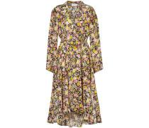 Woman Asymmetric Floral-print Silk-crepe Midi Dress Multicolor