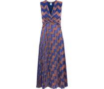 Twist-front Pleated Metallic Crochet-knit Midi Dress