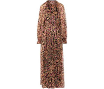 Ruffle-trimmed fil coupé animal-print silk-blend halterneck gown