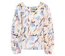 Bedruckte Bluse aus Jacquard aus Einer Baumwoll-seidenmischung mit Raffung
