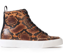 Woman Rb Suede-trimmed Snake-effect Leather High-top Sneakers Animal Print
