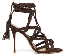 Lydia Leather-trimmed Suede Sandals Dunkelbraun