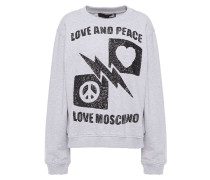 Woman Sequin-embellished French Cotton-terry Sweatshirt Light Gray