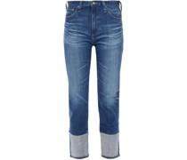 Hoch Sitzende Cropped Jeans mit Schmalem Bein in ausgewaschener Optik