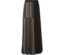 Pleated Metallic-trimmed Silk Maxi Skirt Schwarz