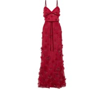 Velvet-trimmed Embellished Tulle Gown