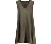 Ruffled Voile Mini Dress Armeegrün
