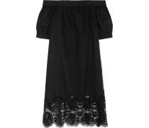 Sienna Off-the-shoulder Crochet-trimmed Cotton-poplin Mini Dress Black