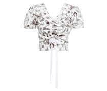 Woman Ruched Printed Cotton-blend Poplin Top White