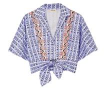 Poet Bedrucktes Hemd aus Baumwollpopeline mit Stickereien und Bindedetail Vorne