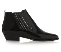 Presley Glossed-leather Ankle Boots Schwarz