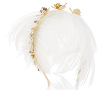 Gold-tone, Pearl And Feather Headband