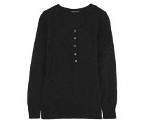 Henley Thermal Cashmere Sweater Schwarz