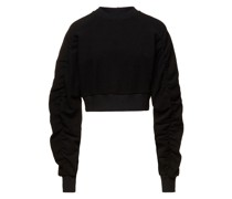 Cropped Ruched Cotton-blend Terry Sweatshirt