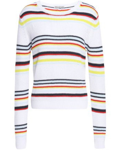 Striped Cotton Sweater White