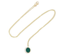 Reversible Moon Phase 18-karat  Diamond And Malachite Necklace
