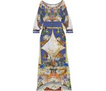Muse Novels Belted Embellished Printed Silk Crepe De Chine Maxi Dress