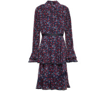 Tiered Floral-print Crepe De Chine Dress