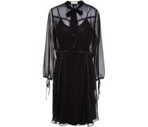 Kleid aus Chiffon mit Lederbesatz und Nieten