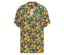 Cikael Appliquéd Floral-print Woven Shirt